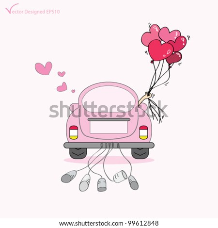 Couple just married on car driving to their honeymoon and holding heart balloons - Vector
