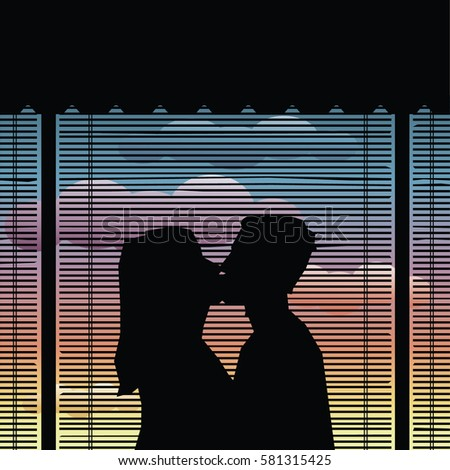 couple kiss silhouette
