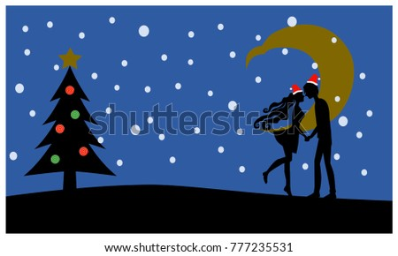couple kiss with santa hat and