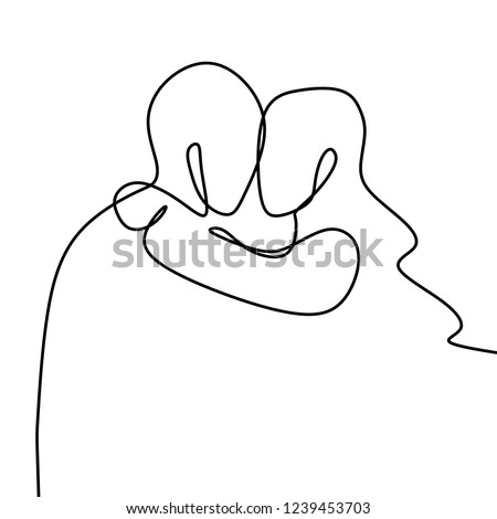 Couple kissing one line drawing vector