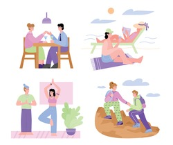 Couple leisure and joint recreation for bonding relationships set. Men and women spending time together, flat cartoon vector illustration isolated on white background.