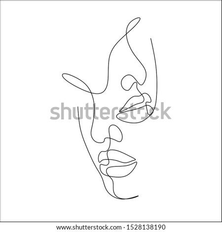 Couple line vector illustration. Love print. Minimalist people icon. Couple logo. 2 faces. Man amd woman. Love vector. Symbol of love. Couple kissing line drawing. Love line art. Minimalism print