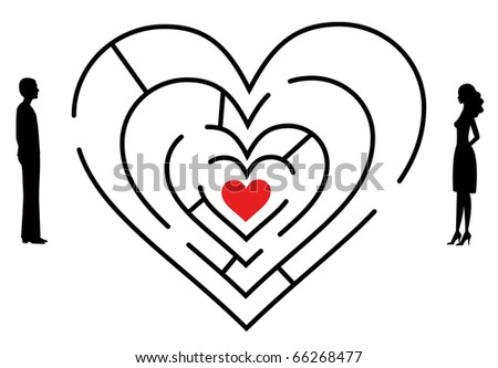 couple looking for love through labyrinth stock vector 66268477 looking for love 450x333