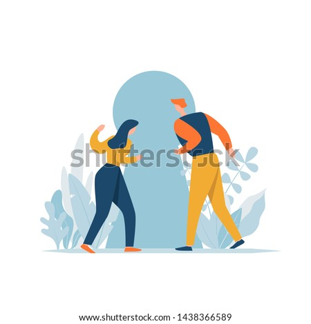 Couple looking into keyhole with curiosity. Problem solving, opportunity, concept. Cartoon characters discovery secret. Man and woman searching sense, freedom, future journey.