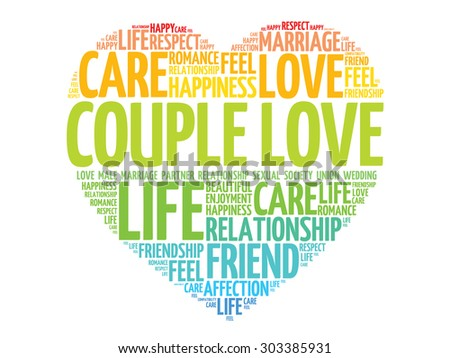 couple love concept heart word