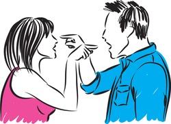 couple man and woman arguing illustration
