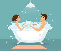 Couple, man and woman taking bath in a vintage bathtub with bubbles, enjoying, drinking champagne