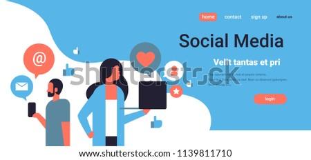 couple man woman social media icons concept online chat communication using gadget copy space flat horizontal portrait vector illustration