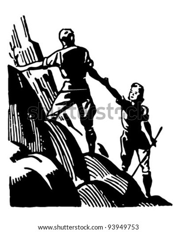 Couple Mountain Climbing Retro Clipart Illustration