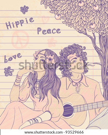 Couple of a hippy on a sunny afternoon, vector illustration