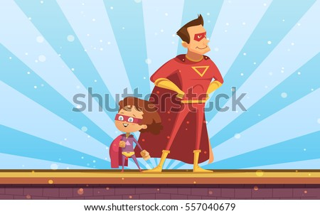 Couple of adult and child cartoon superheroes in red  cloaks standing proudly at sunlight background flat vector illustration