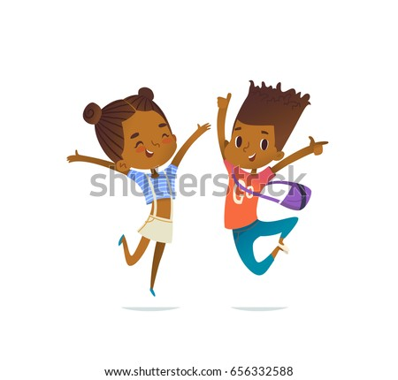 Couple of African American children, boy and girl, cheerfully jumping with their hands up. Concept of positive emotions and celebration. Vector illustration for banner, poster, website, postcard.