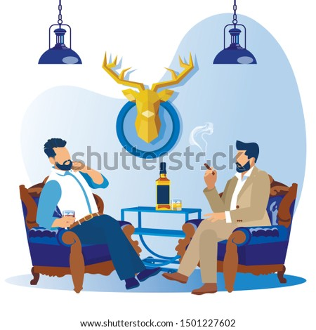 Couple of Bearded Business Men Relaxing on Armchairs Drinking Whiskey or Alcohol Drinks. Characters in Barber Shop, Male Salon or Hotel Apartment with Deer Head Dummy. Cartoon Flat Vector Illustration