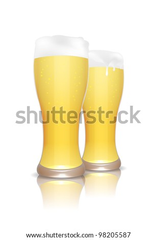 Couple of beer glasses with reflection isolated on white, vector illustration, eps10