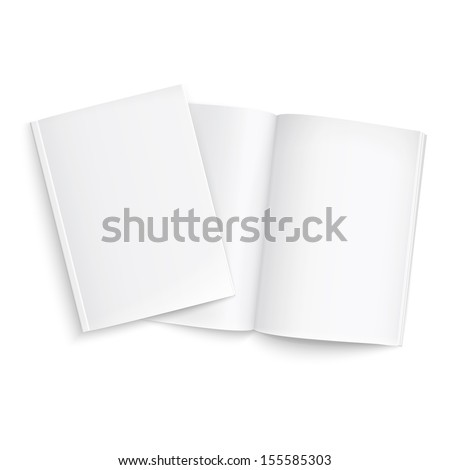 Couple of blank magazines template. on white background with soft shadows. Ready for your design. Vector illustration. EPS10.