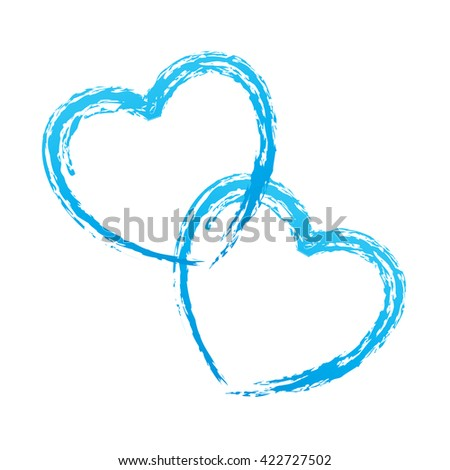 couple of blue hearts outline