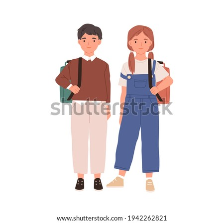 Couple of boy and girl. Portrait of school children with backpacks. Two teen kids standing together. Colored flat vector illustration of schoolboy and schoolgirl isolated on white background