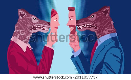 Couple of business people in which woman and man, facing each other, hide mutual hostility behind a mask of kindness  Foto stock ©