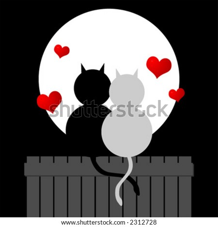 Couple of cats watching the moonlight. Love cats. Valentines day.