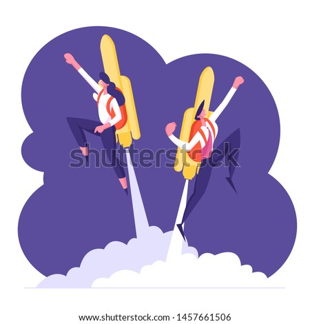 Couple of Cheerful Business Man and Woman Characters Flying Off with Jet Pack. Office Workers Flying Up by Rocket on Back Take Off the Ground. Career Boost, Start Up. Cartoon Flat Vector Illustration