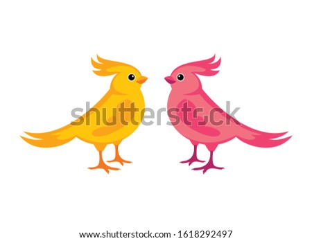Couple of colorful birds vector. Bird isolated on a white background. Birds icon set. Cute bird cartoon character. Colorful birds clip art. Yellow and pink bird vector