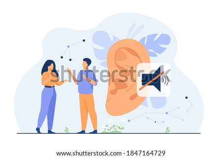 Couple of deaf people talking with hand gestures, huge ear and mute sign in background. Vector illustration for hearing loss, communication, sign language concept