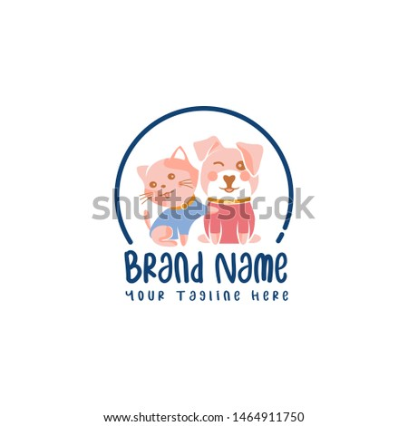 Couple of dog and kitty, logo for animal lovers