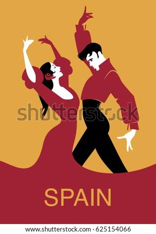 Couple of flamenco dancers. Vector illustration Foto stock ©