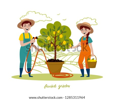 Couple of gardeners are working in the garden. Man with garden hose watering lemon tree, a woman picking fruits in a basket. Vector illustration in a cartoon style
