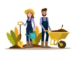 Couple of gardeners. flat character design. vector illustration