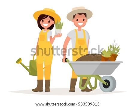 couple of gardeners man with