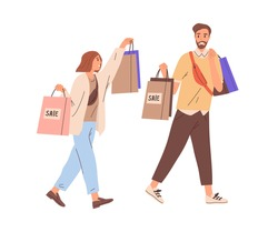 Couple of happy modern man and woman walking together with shopping bags. Young smiling people carrying purchases from sale. Colored flat graphic vector illustration isolated on white background
