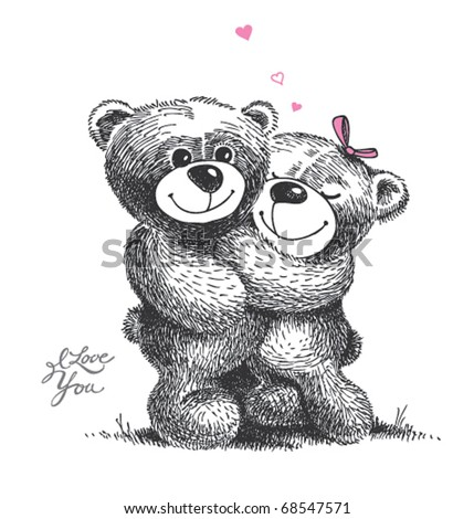 Couple of hugging teddy bears with small hearts. Hand drawn illustration, vector.