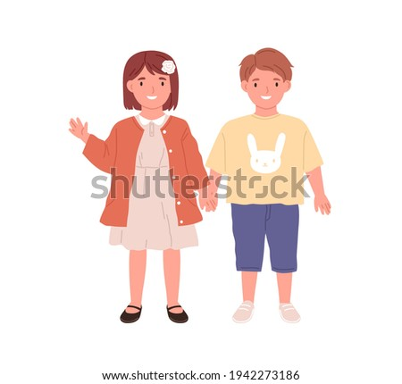 Couple of little boy and girl. Portrait of happy children standing together. Cute smiling kids. Colored flat vector illustration of preschoolers isolated on white background
