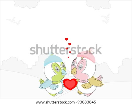 Couple of love birds with a red heart shape showing love on seamless nature background for Valentines Day and other occasions.