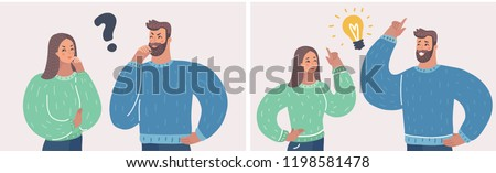 Couple of man and woman having a question. Husband and wife deal the problem using their imagination. They having an idea with light bulb over their head. Vector cartoon illustration in modern concept