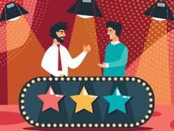 Couple of Men Stand at Glowing Desk with Colorful Stars and Lightbulbs Communicating under Spotlights Equipment in Television Studio. Talent Show Judges Discussion. Cartoon Flat Vector Illustration