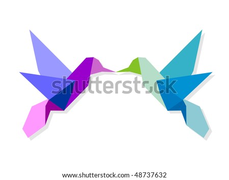 Couple of Origami vibrant colors hummingbird giving a kiss. Vector file available.