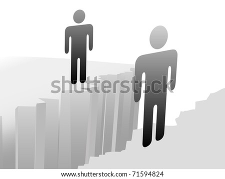 Couple of people connect across gap symbol of a separation problem