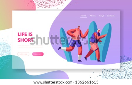 Couple of Senior Sportsmen Characters in Sports Wear Jogging, Pensioners Outdoor Activity and Sport, Fitness Healthy Lifestyle. Website Landing Page, Web Page. Cartoon Flat Vector Illustration, Banner