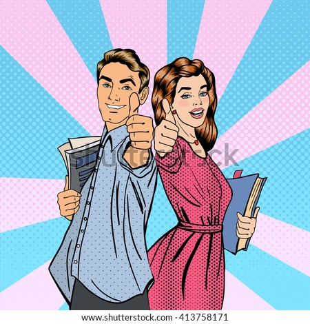 Couple of Students with Books. Man and Woman Gesturing Great. Educational Concept. Okay Sign. Pop Art. Vector illustration