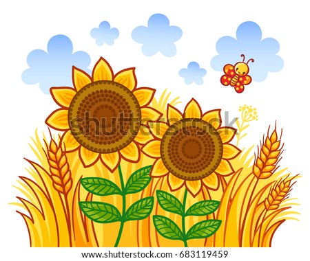 Couple Of Sunflowers On A Background Wheat Vector Illustration In Cartoon Style