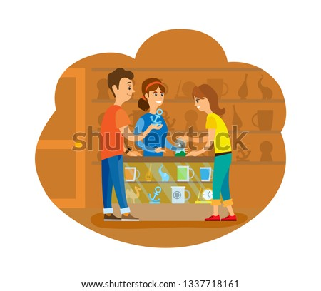 Couple of tourists buying souvenirs at shop vector. People standing inside store with cups and clocks, statue and handmade items. Flat style drawing
