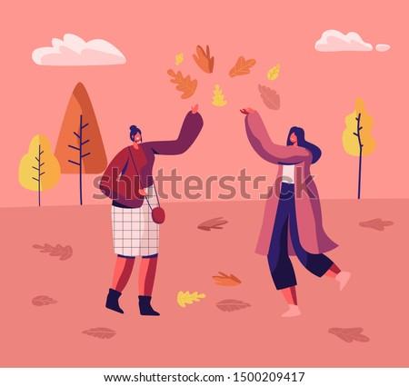 couple of women in autumn park