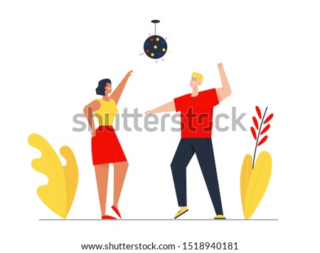 Couple of Young Girl and Man Visiting Night Club Dancing and Jumping with Hands Up under Stroboscope Lighting. Friends Having Fun Leisure, People Nightlife Clubbing. Cartoon Flat Vector Illustration