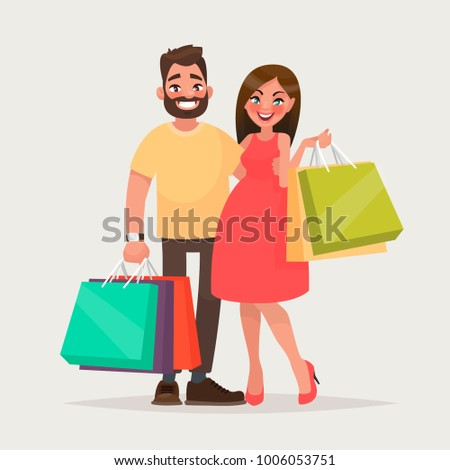 couple of young people shopping
