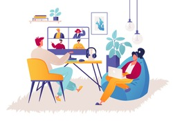 Couple of young people work remotely at home during quarantine, self-employment, freelance. Male character having video conference with colleague team meeting online. Girl works on laptop.