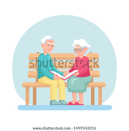 Couple old senior man, woman sitting on the bench and holding photo album. Grey haired elderly people together cartoon vector isolated on light background. Lovers grandmother and grandfather together