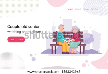 Couple old senior man woman sitting on the bench watching photo album. Grey haired elderly people together on background city park. Lovers grandmother and grandfather cartoon vector isolated