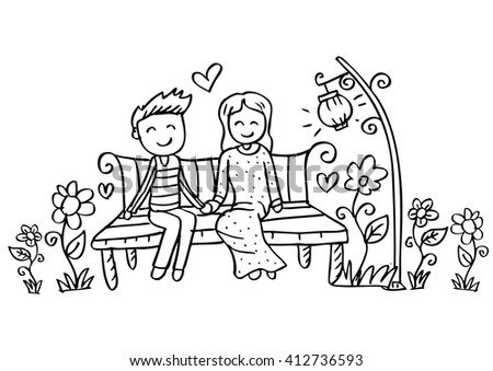 couple on a bench hand drawing